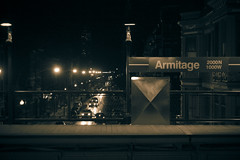Armitage (JSFauxtaugraphy) Tags: winter snow chicago cold night train photoshop canon dark lights cta tracks rail el xs elevated armitage cs3 2011 canonxs