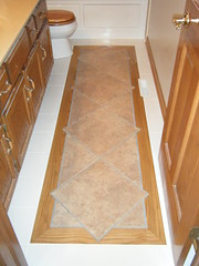 Tile floor with Diamond Pattern (spicher_construction) Tags: tile remodel grout whitetile diamondpattern recycledtile spicherconstruction oakinlay