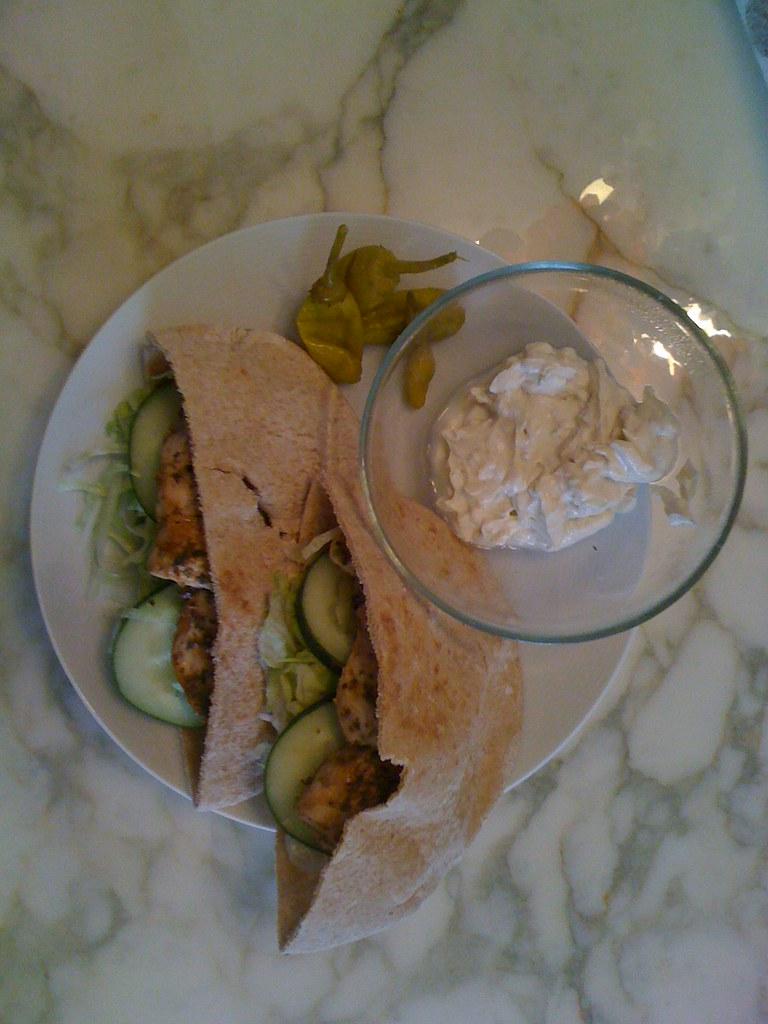 Chicken Souvlaki Pitas with Tahini Sauce