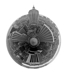 Planet ESB bw (jankor) Tags: panorama geotagged 360 planet stitched 360 360degree littleplanet 360grad geo:lat=4075909 planetepanoramique geo:lon=73979626