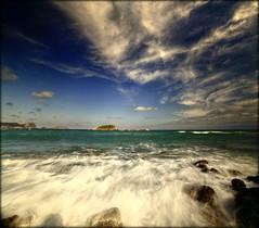 CANAR (Pepe Rosell) Tags: sea sky panorama seascape beach clouds canon island mar mediterranean mediterraneo paisaje ibiza cielo nubes eivissa marino rocas islote waterscape mediterranee vertorama