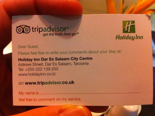 Holiday inn dar es salaam asking for tripadvisor reviews on holiday inn dar es salaam asking for tripadvisor reviews on business cards reheart Gallery