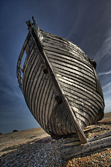 Dungeness (joncrowuk) Tags: uk sea colour beach water boat kent sand rocks transport abandon dungeness seafishing