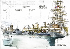 Puerto de Mlaga (Luis_Ruiz) Tags: port puerto sketch ship harbour drawing vessel urbansketchers