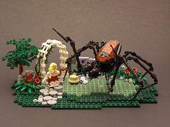 Little Miss Muffet 01 (Legohaulic) Tags: spider lego nurseryrhyme littlemissmuffet
