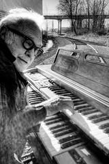 Railroad Tracks and an Organ - Norman 2029 (JLPhotoArt - Jeremy Lindstrom) Tags: ca musician music canada vintage keyboard bc surrealism traintracks surreal oldman retro newwestminster unplugged railroadtracks lowreyorgan