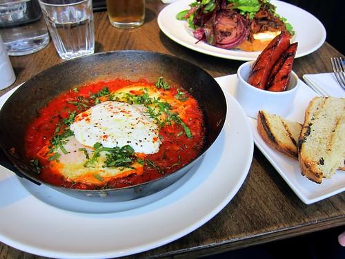 Baked eggs, spicy tomato, greek yoghurt, smoked paprika, chorizo