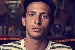 083/365 Ben Sharp (matthewcoughlin) Tags: portrait hat closeup bokeh garage postproduction stripedshirt speedlite lightingsetup offcameraflash strobist 3652011 2011inphotos