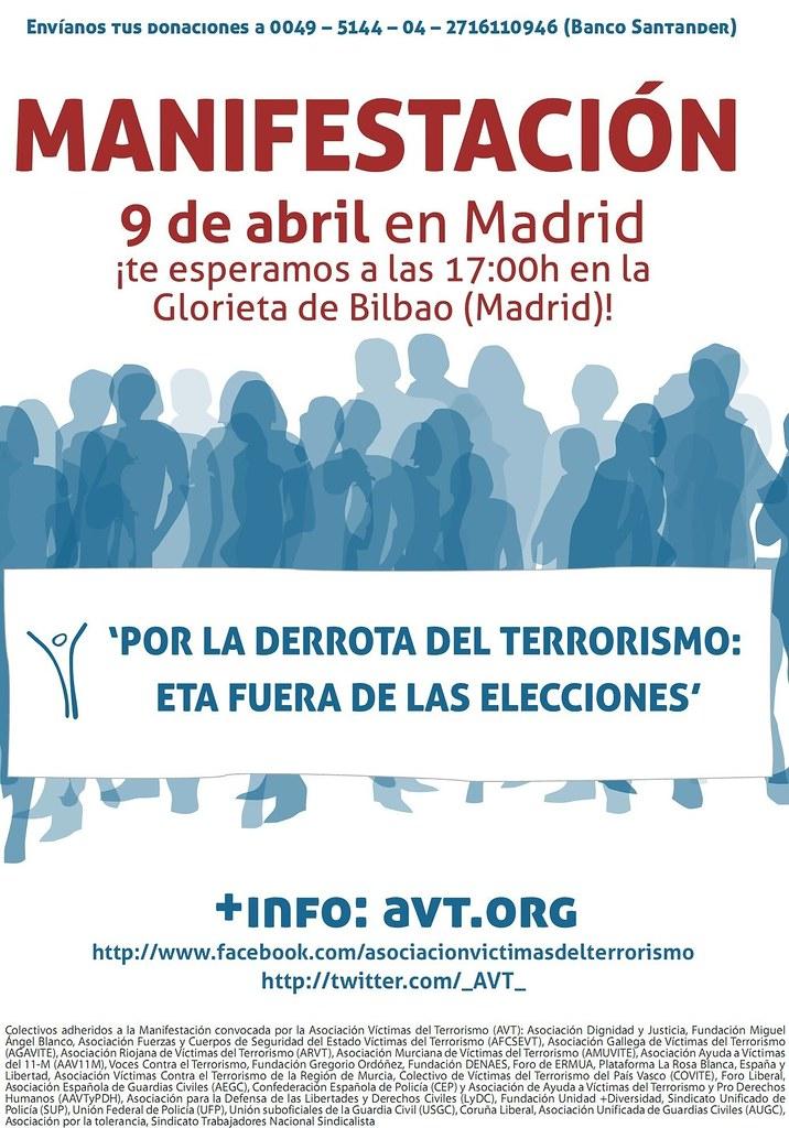 El 9 de abril a las 5 en Madrid, por la derrota del terrorismo, ETA fuera de las elecciones