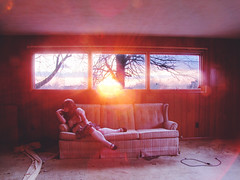 (Sun)Light-Bright (bellydnce1103) Tags: pink blue light sunset red sun house selfportrait abandoned colors girl socks lens illinois high sitting purple naturallight couch flare knee caledonia rockford