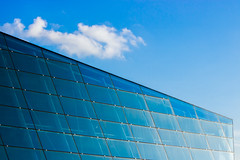 Glass Wall under Blue Sky (danliecheng) Tags: singapore abstract architecture attractions background blue building closeup clouds contemporary design details diagonal glass light lines material modern shade sky travel wall windows