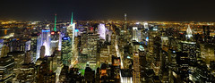 Manhattan Panorama at Night (` Toshio ') Tags: nyc newyork newyorkcity empirestatebuilding timessquare manhattan fujixe2 xe2 night city cityscape panorama chryslerbuilding architecture buildings midtown usa america