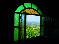 The Green Window (peggyhr) Tags: blue trees friends light red brazil sky cloud black mountains minasgerais green window glass gallery arch view stainedglass textures opaque glassworks gouveia goldenvillage hiddentreasure 50faves framedlandscape vitralglass peggyhr doorswindowsandsteps heartawards gaveyachills peaceawards thebestshot travelpilgrims stunningshots 100commentgroup passionforlight ringexcellence ronnieanddenisesplace thekeytoperfection level1photographyforrecreation tennerkasmasterpieces p1220864ap theglassmenagerieartglassexhibition