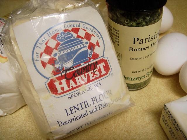 savory lentil-rice pizzelles