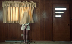 (yyellowbird) Tags: wood orange house abandoned girl illinois curtain cari rockford paneling shortfatlegs