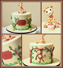 Sophie the Giraffe Cake (Sweet Pudgy Panda) Tags: birthday baby brown tree green leaves cake monkey sophie giraffe snails fondant gumpaste sweetpudgypanda