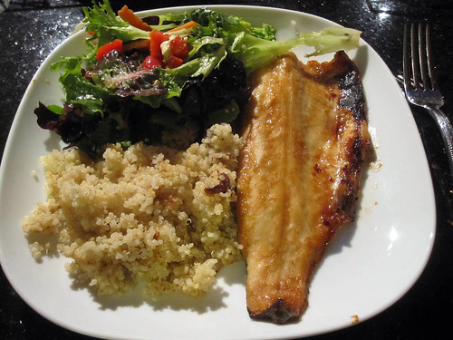 trout, quinoa, salad