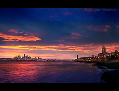 Liverpool Sunrise 2011 [Explore #115] (Lee Carus) Tags: blue red sea irish colour building nature skyline skyscraper liverpool sunrise river pier amazing head sony explore february liver mersey slt wirral 2011 a55 2rd explored