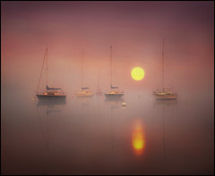 Tranquil moments (adrians_art) Tags: mist water fog sunrise reflections boats dawn early lakedistrict cumbria yachts masts bouys moorings moored pooleybridge lakeullswater