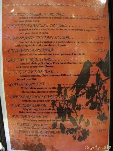 Sautee specials menu