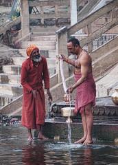Men at the Ganges (collette v) Tags: india men varanasi washing ganges gangesriver gapadventures theindiatree ahdk