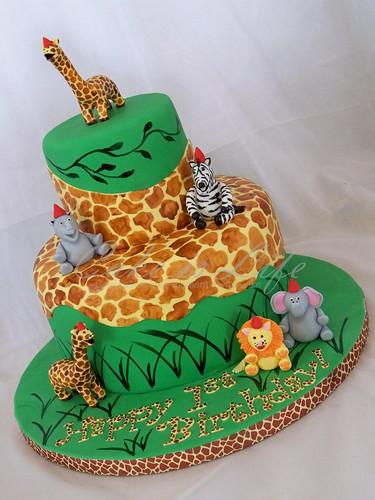 Giraffe/Jungle Themed 1st Birthday Cake