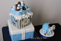 GiftBox n stroller Jen (5) (Vivi :o)) Tags: blue boy baby brown white cake by shower nc charlotte box stroller stripes tissue just gift bite quilted vivi viviane decorated fondant waxhaw
