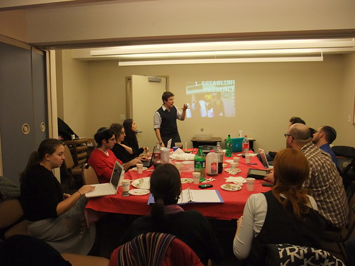 PresenTense Co-Founder Ariel Beery teaching at an NYC Fellowship workshop