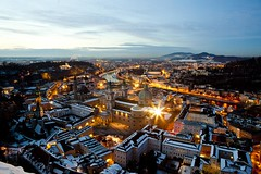 Salzburg (Mixmaster) Tags: from above city light salzburg church night dark star austria cathedral osterreich fortress