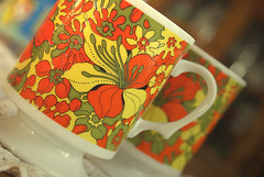 PsyCupadelic (obsequies) Tags: orange flower green kitchen yellow vintage print mugs 60s colorful power olive funky retro cups 70s 1960s 1970s psychedelic finds