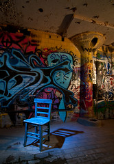 Blue Chair (Noel Kerns) Tags: abandoned night ruins texas fort packing meat worth swift plat