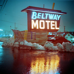 Beltway Motel (Daniel Regner) Tags: city winter snow cold 120 tlr film wet night dark lens evening reflex long exposure kodak snowy daniel c south release twin cable baltimore iso medium format asa february portra yashica emulsion duration 2011 160nc regner rainiy