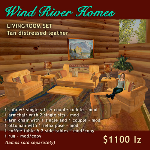 Rustic Livingroom Set - Tan Distressed Leather by Teal Freenote