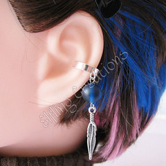 Blue and Silver Feather Ear Cuff