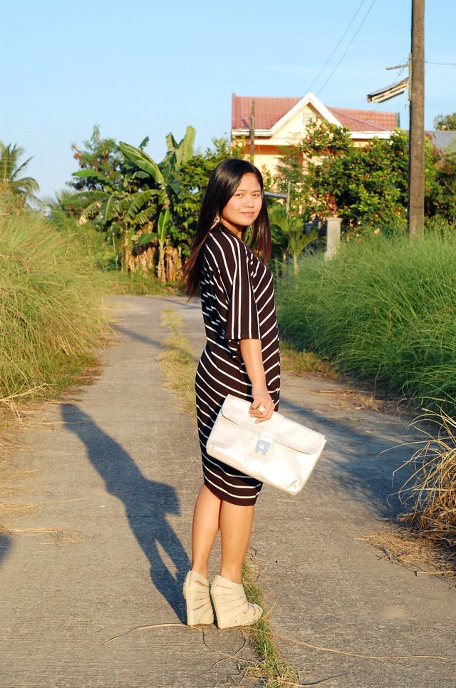 black and white stripe dress