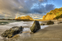 One and a Half Rainbows (Didenze) Tags: longexposure light sky clouds sunrise rainbow sand rocks cove smooth montage hdr lagunabeach canon450d flickrdiamond hdrspotting didenze