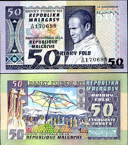 50 Frankov=10 Ariary Madagaskar 1974-75