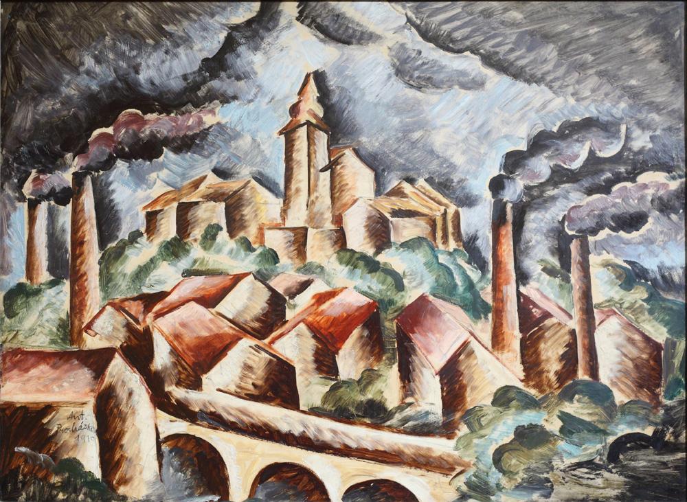 Antonín Procházka, Krajina s továrními komíny [Landscape with factory chimneys], 1910