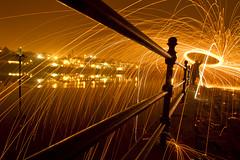The wool on the Tyne... (- Hob -) Tags: longexposure orange lightpainting night raw riverside walker possible tyneside rivertyne stanthonys wirewool singleexposure lightjunkies woolspin mgribbon