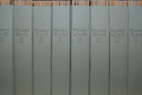 row of magazine boxes, labelled Applesauce II to IX