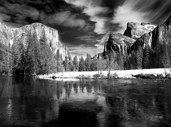 Valley View From Below-IR (pendeho) Tags: blackwhite yosemite elcapitan mercedriver specland