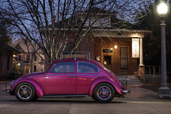 Terry's Bug (Mike Olbinski Photography) Tags: pink trees arizona cars phoenix sunrise 50mm14 sidewalks hdr vwbug heritagesquare photowalks 5dmkii 20110205