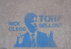 Nick Clegg [Fitzroy Street Steps] (norman preis) Tags: art graffiti stencil paint political cardiff spray caerdydd tory cathays celf 2011 dmeurig