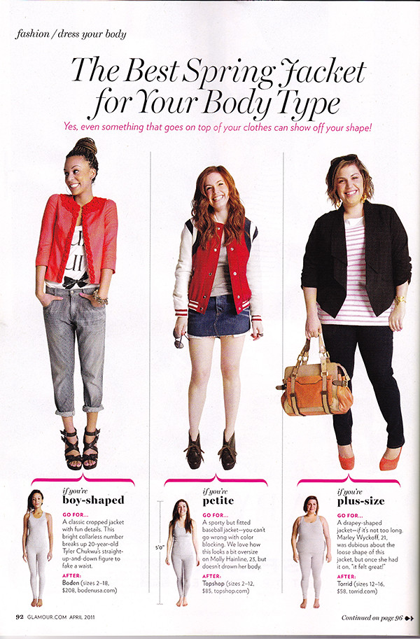 Glamour Magazine Picks Spring Jackets for Petites – April 2011 Issue