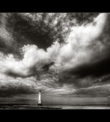 Once in a lifetime.. (jetbluestone) Tags: sea cloud lighthouse white storm liverpool mono sand hdr mersey wirral perchrock