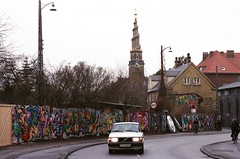 Christiania to Vor Frelsers Kirke (but_those_are) Tags: street travel film car 35mm copenhagen graffiti minolta 40 dynax vor sights christiania kirke frelsers