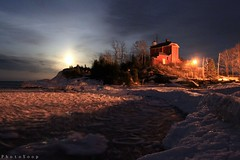 Super Moon over Superior (PhotoYoop) Tags: travel sky coastguard usa moon lighthouse art tourism ice geotagged outdoors march artist michigan stock super luna full fullmoon professional cannon icicle lakesuperior marquette artisan 19th visionary thegreatoutdoors professionalphotography digitalmedia genovese perigee stockimagery michiganoutdoors perigeemoon welcometomichigan picturesofmichigan puremichigan supermoon mygearandme photoyoop selftaughtprofessional