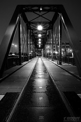 Walk This Way (Tommy6unz) Tags: longexposure railroad bridge bw chicago night nikon cloudy tripod pedestrian chicagoriver gapersblock wbez northbranch northavenue chicagoist chicagomagazine explorechicago d5000 1685mm thelocaltourist