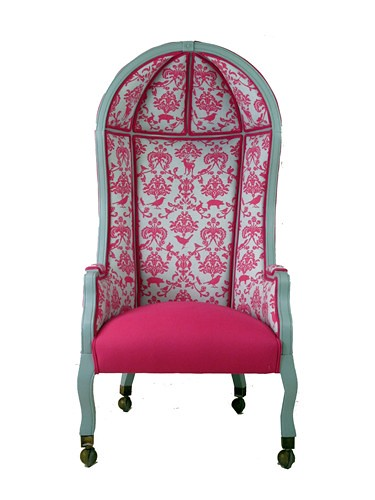 Pink and white print Vintage Bonnet Top Chair