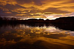 Rio Grande Gold (Ph0tomas) Tags: sunset sky lake newmexico water clouds sunrise reflections river landscape lumix gold pond g wideangle g1 f4 714 vario mygearandme ph0tomas